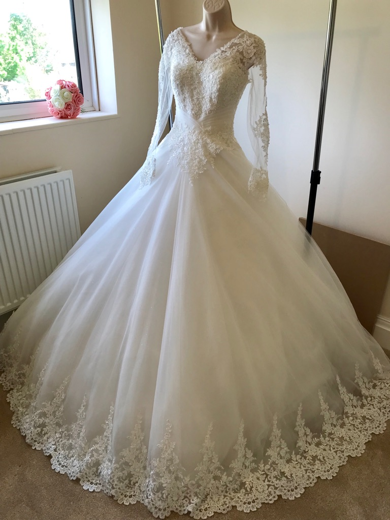 Long Sleeved Wedding Dress (size 10/12)