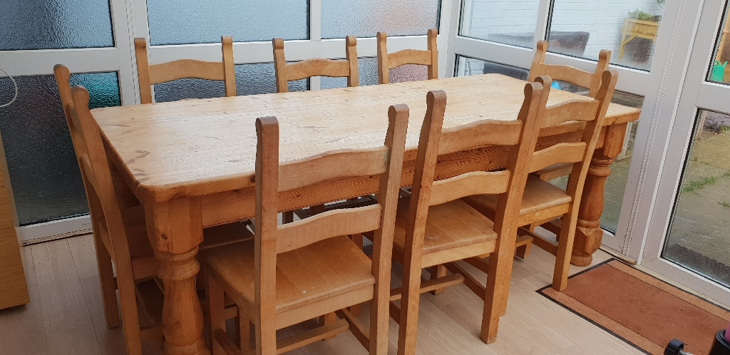 7ft Solid Pine Table & 8 chairs