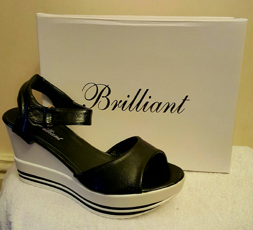 black and white wedge summer sandals