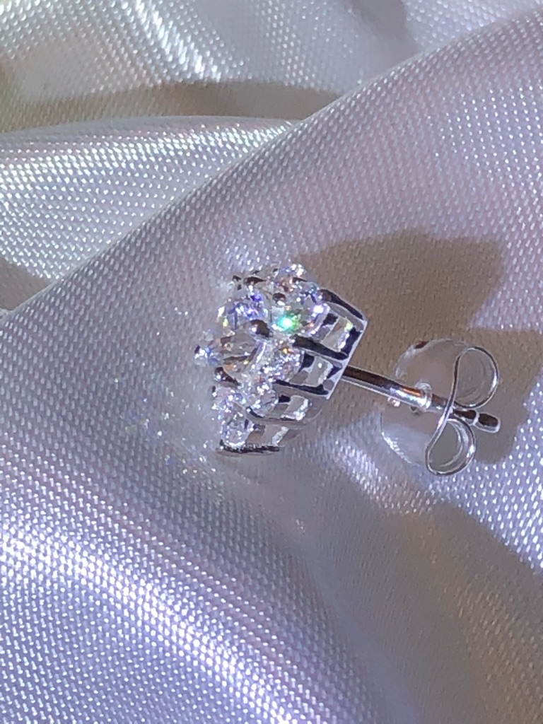 Sterling Silver Stud Cluster Earrings Push Back Made with SWAROVSKI ZIRCONIA