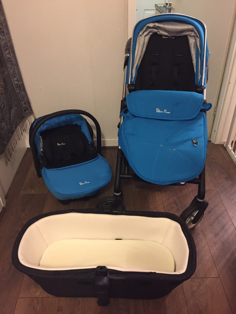 Silver cross pram, carry cot and car seat
