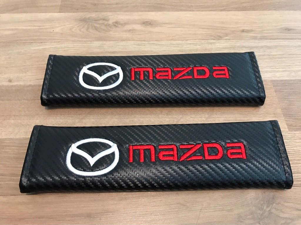 2X Car Seat Belt Pads Carbon Gift Mazda2 Mazda3 Mazda6 MX5 CX5 RX8 Skyactiv Automatic