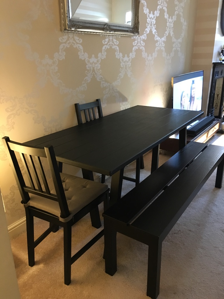 Ikea black wooden table, chairs and bench