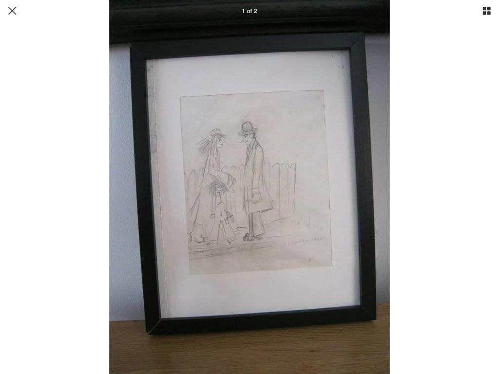Original drawing Signed LS Lowry 1938
