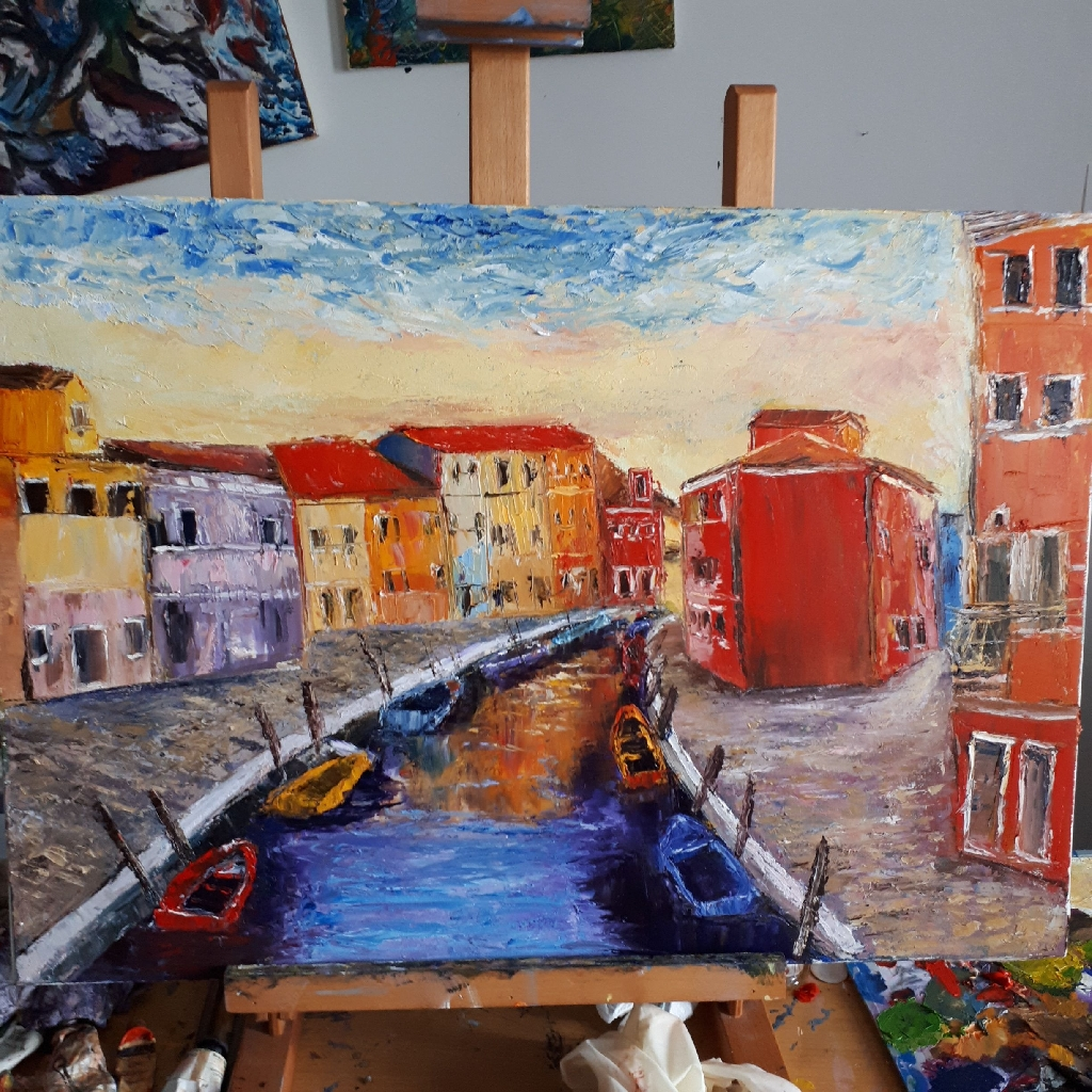 "Pallete knife oil painting on canvas. ""Venice"""