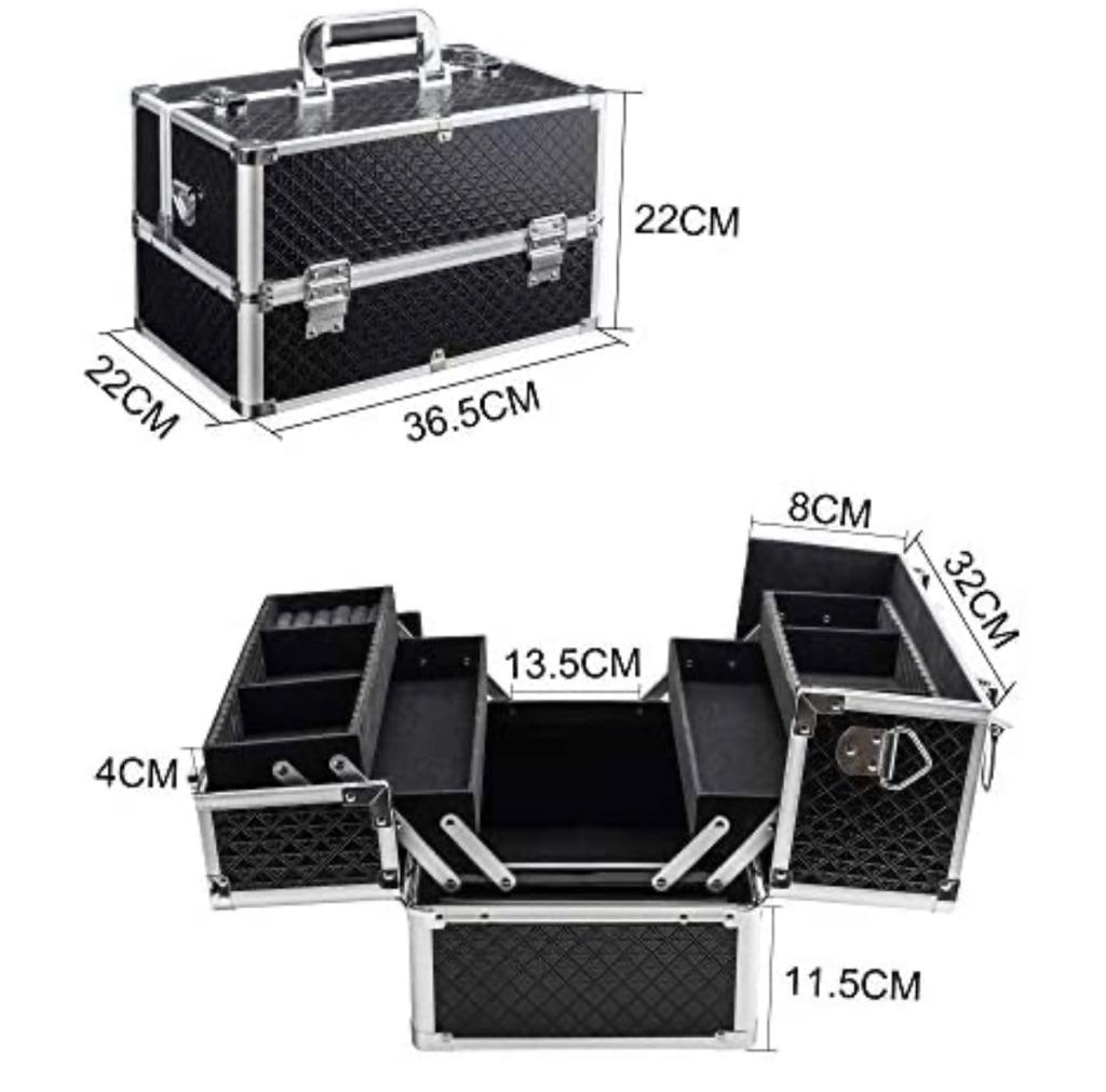 Make Up Case Extra Large Beauty Organiser with 4 Foldable Trays