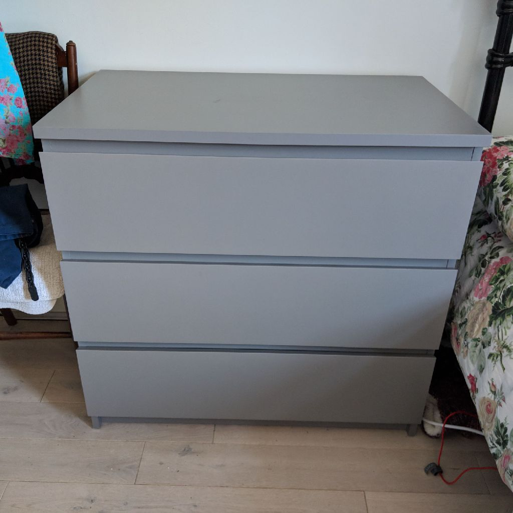 Grey Malm chest of 3 drawers