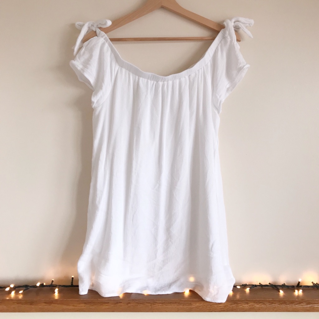 In The Style White Off The Shoulder 100% Cotton Dress