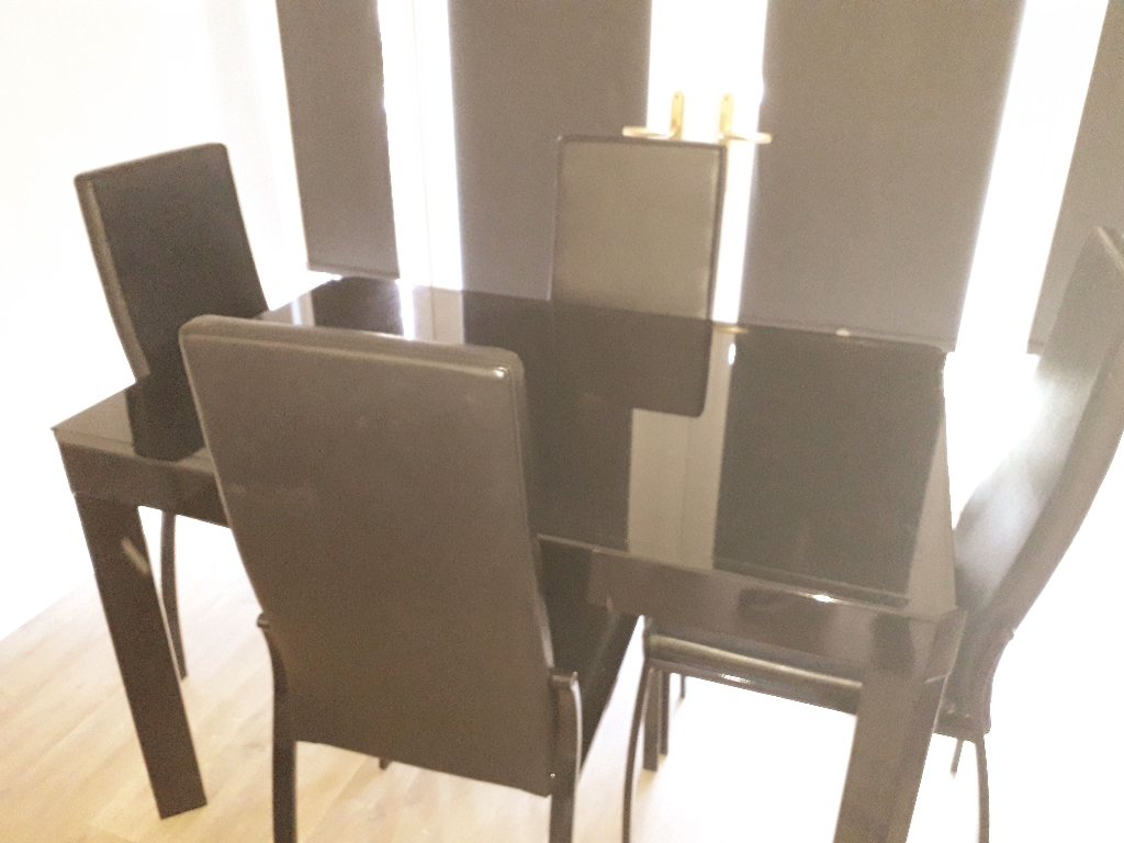 Next Tv Unit £75 Black Glass Extending Table with 4 leather chairs £150