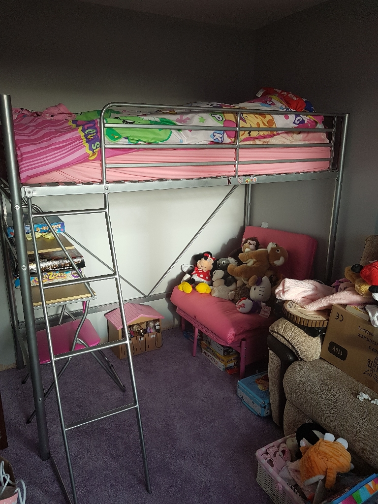 Silver Metal Frame Bunk Bed With Fold Down Seat Bed