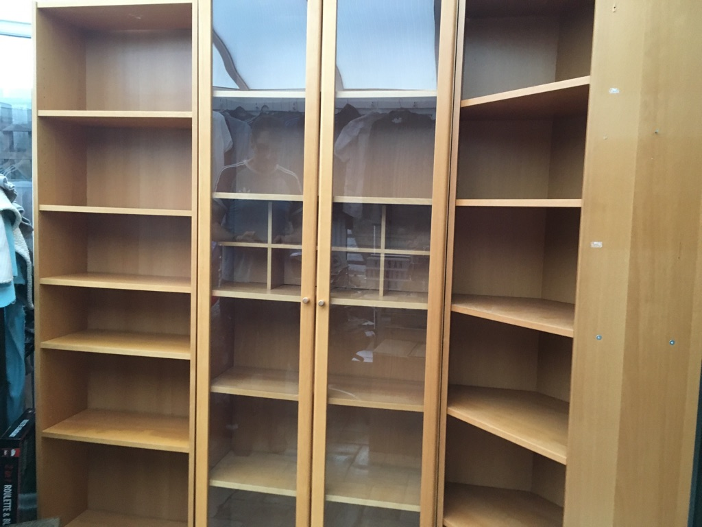 Book case, glass display unit and corner unit