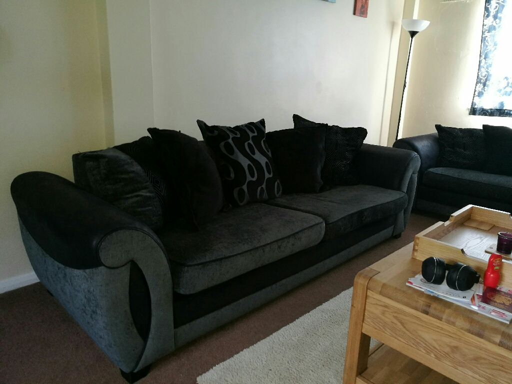 4 and 3 seater with sofa bed and foot stoll