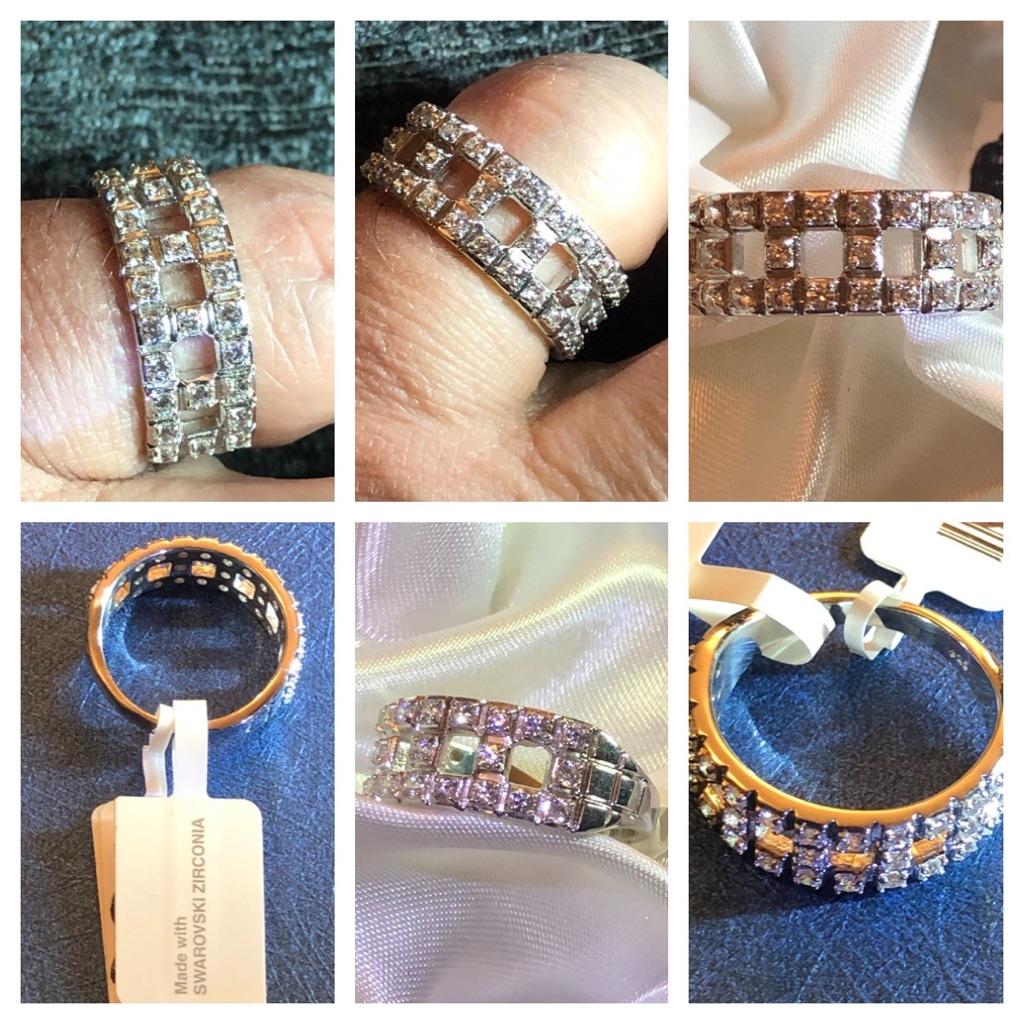 Woman Swarovski Crystal zirconia sterling silver Ring  925 platinum overlay brand new