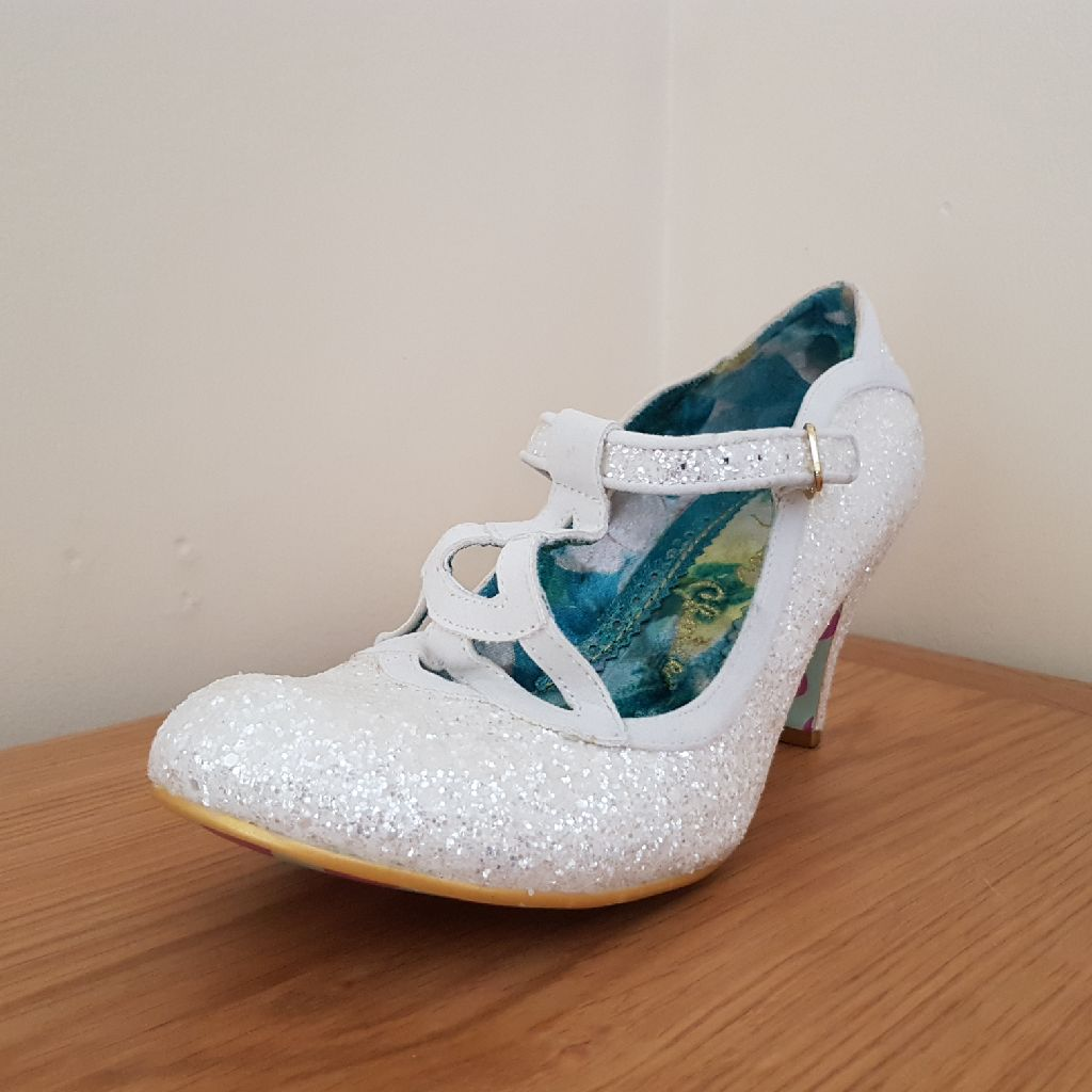 Irregular Choice 'Nicely done' white glitter heels size 41