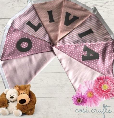Personalised Bunting - Pink & Grey