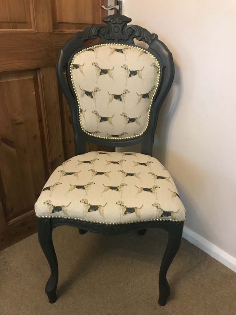 Louie French style occasion chair in Voyage Hounds linen and Annie Sloan graphite