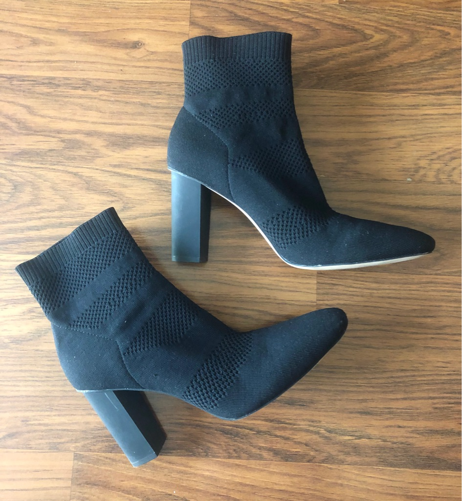 Zara Fabric High Heel Sock Ankle Boots