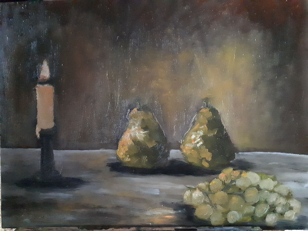 Oil painting. Still life.
