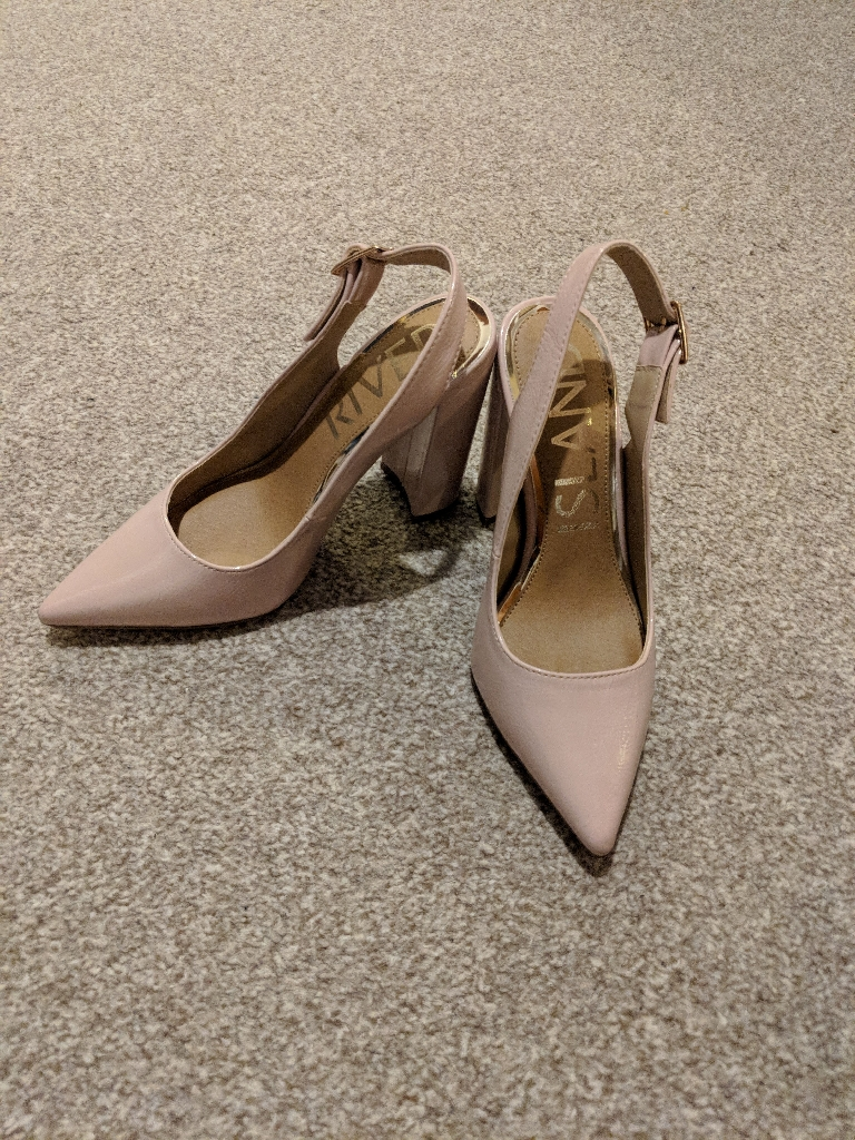 River Island nude heels, size 4, worn once