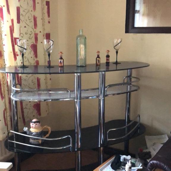 Black glass cocktail bar
