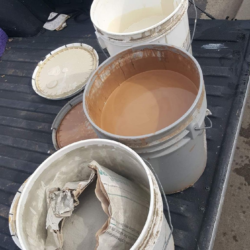(3)5GAL.BUCKETS OF PAINTS & TILE GROUT NEED GONE A.S.A.P.