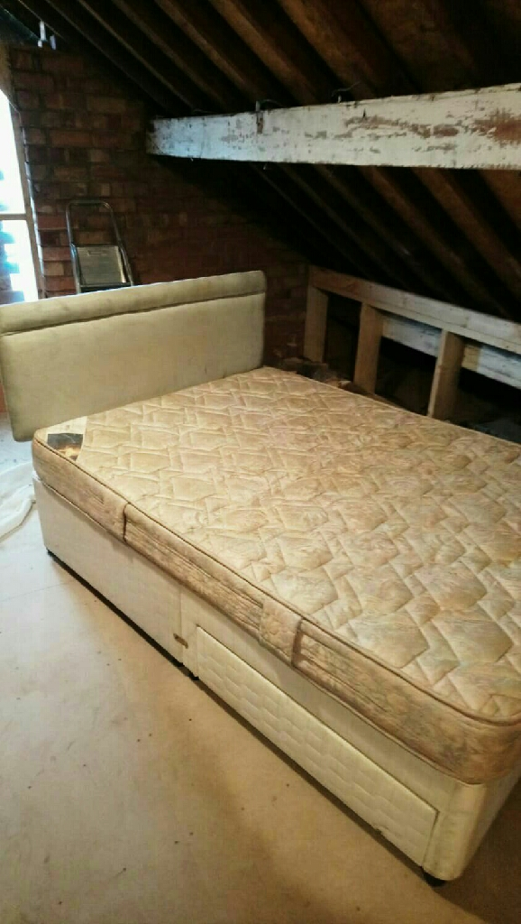Double bed drawer divan, mattress and headboard