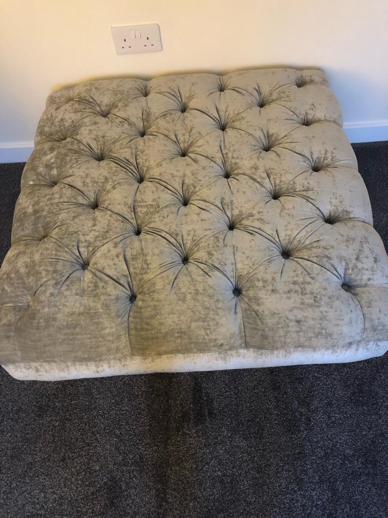 DFS Loch Leven Large Burton Footstool in silver crushed velvet