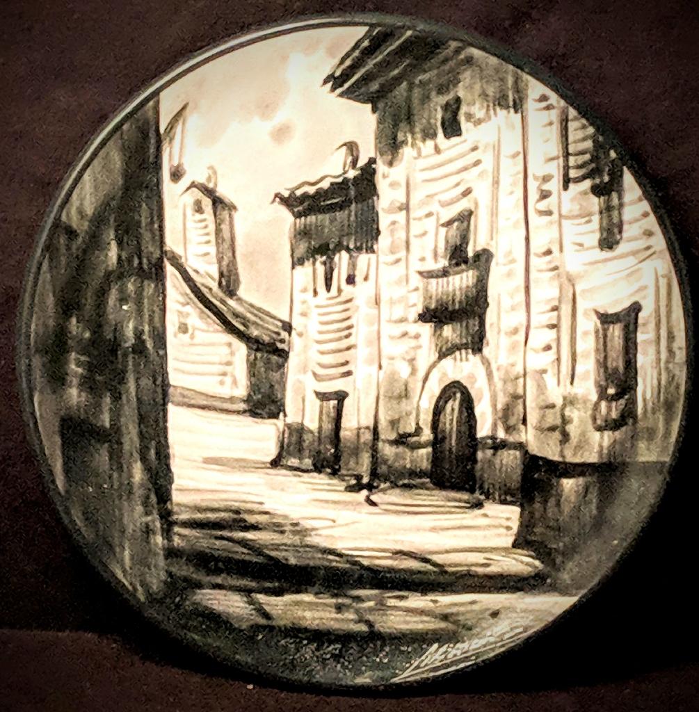 "Spanish Vintage 7"" Ceramic glazed painted plate"
