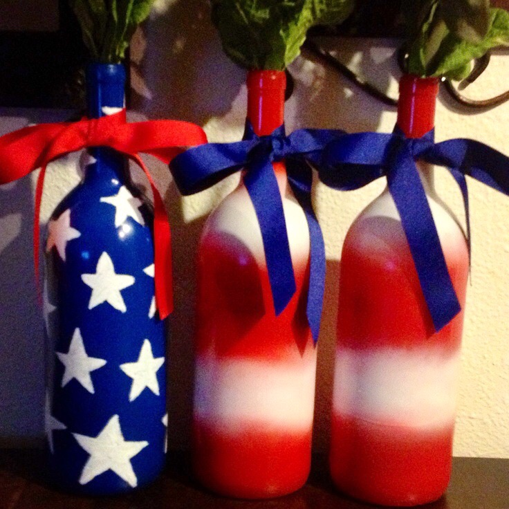Patriotic wine bottles