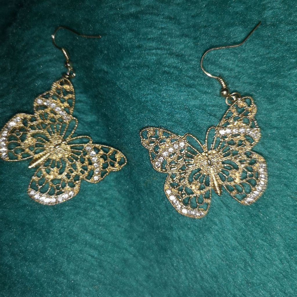Gold butterfly earrings with diamantés