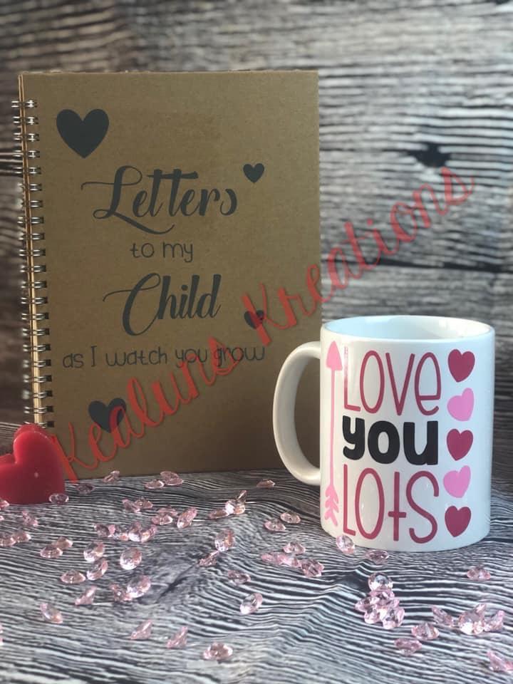 Love u lots mug and memory book set