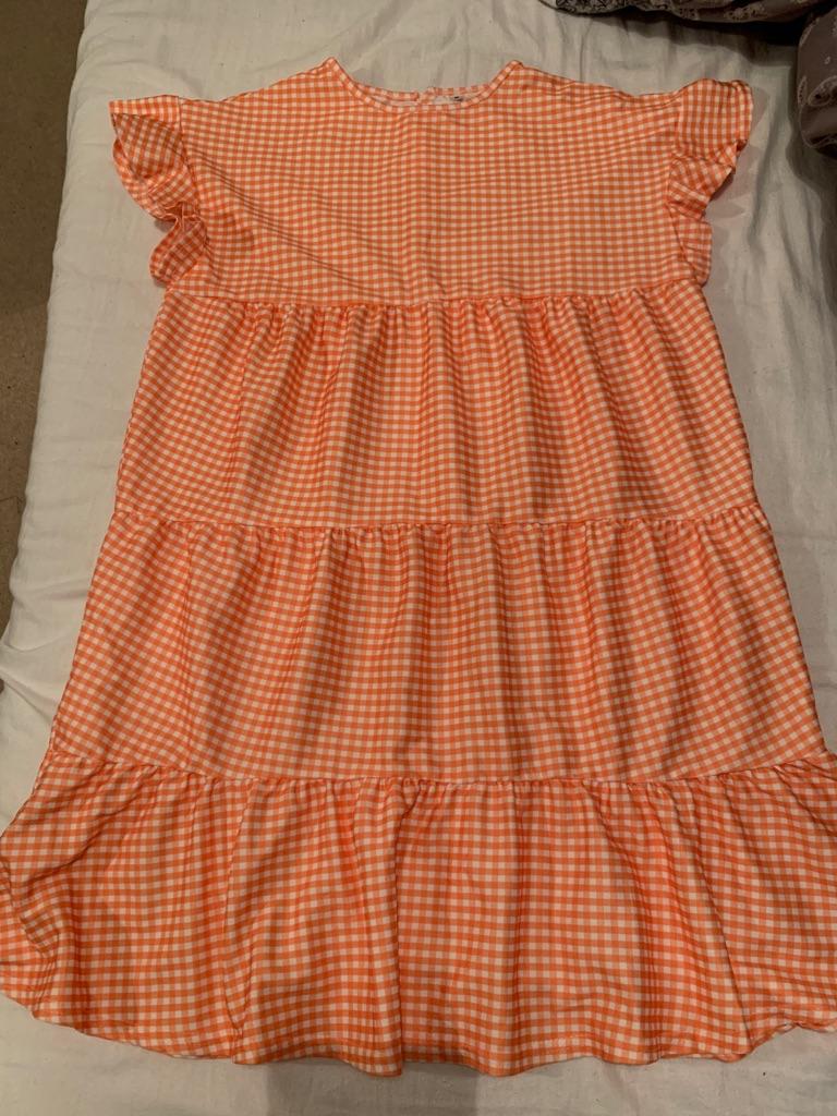 Orange dog tooth print dress