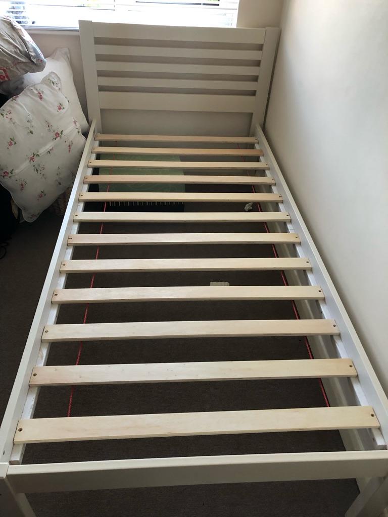 Light cream single wooden bed frame