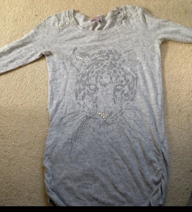 Grey Leopard Long Sleeved Top, Size 10
