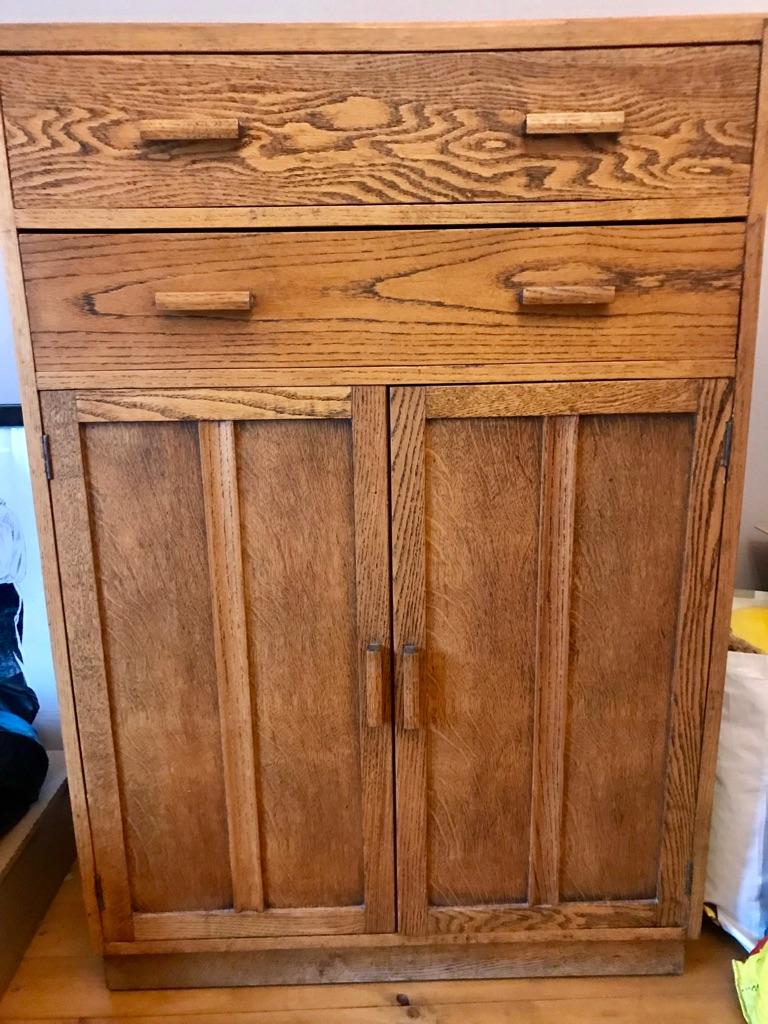 Oak drawers and cupboard