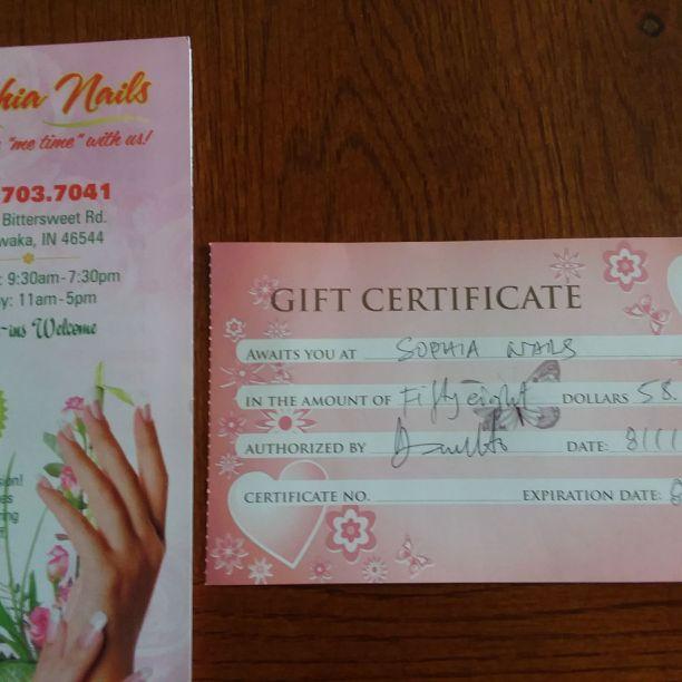 Mani/pedi gift certificate