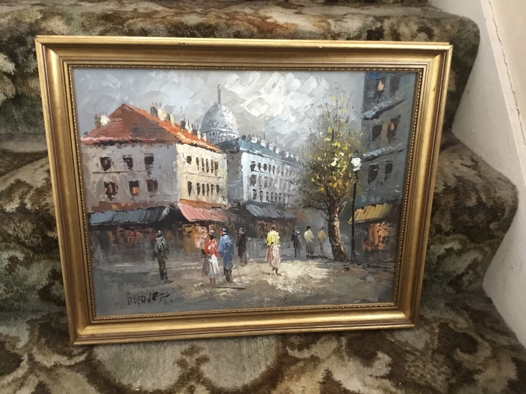 Oil on board a Paris street signed Burnett 18in 15in