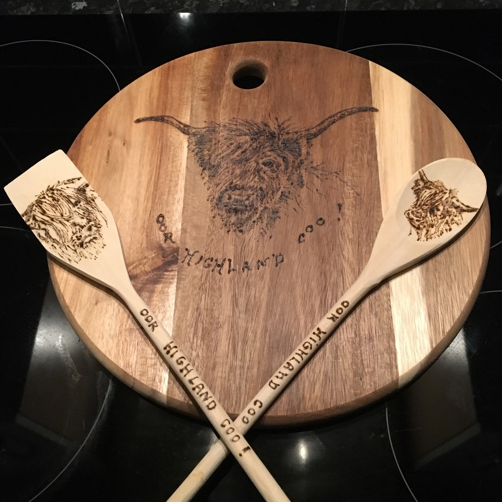 Serving board with spoons