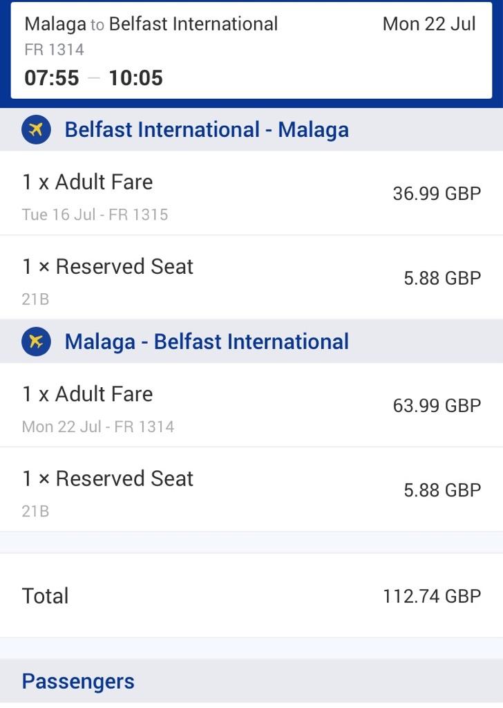 Return flight from Belfast international to Malaga