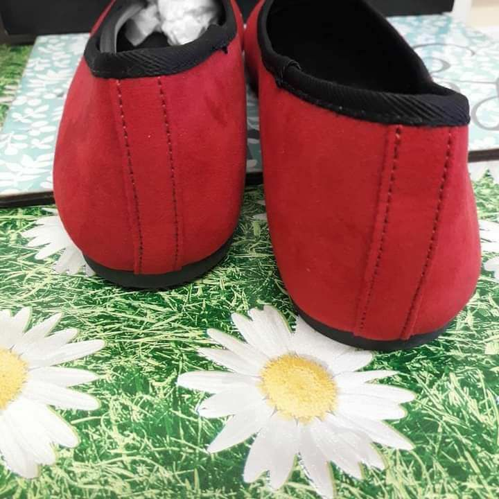 V By Very Ladies Shoes Red Flats Ballet Wide Fit New In Box