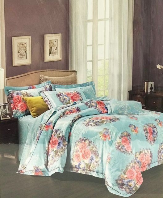 4 piece luxurious floral bedset; duvet cover, bedsheet, pillowcases in 6 colours
