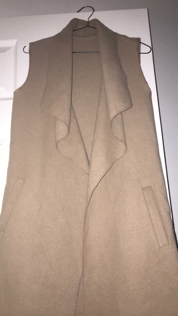 Beige Sleeveless Long Jacket