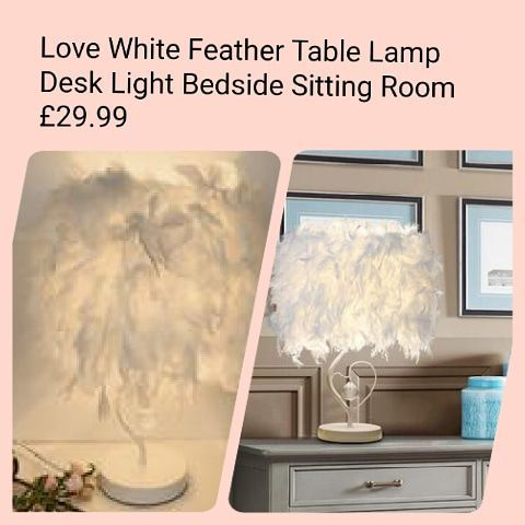 Love White Feather Table Lamp Desk Light Bedside Sitting Room £29.99