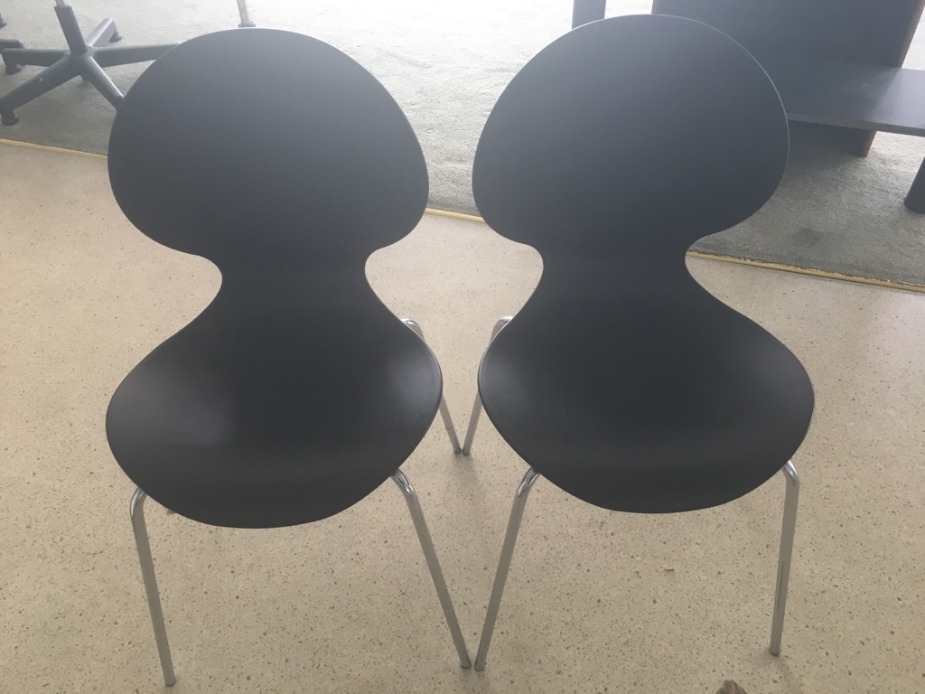 Black all-purpose chairs x 2