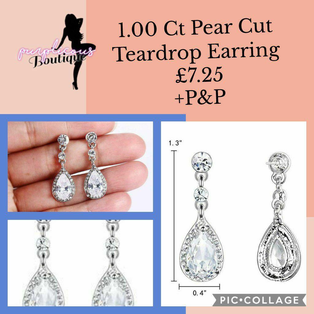 1.00 Ct Pear Cut Teardrop Earring