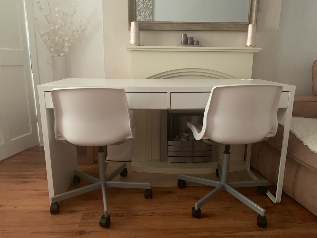 Ikea micke double desk & ikea office chairs