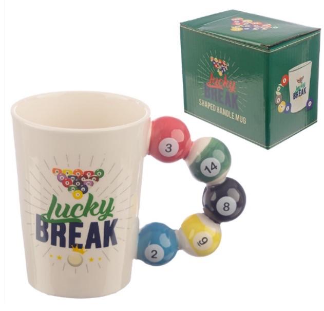 Collectable pool balls shaped handle ceramic mug