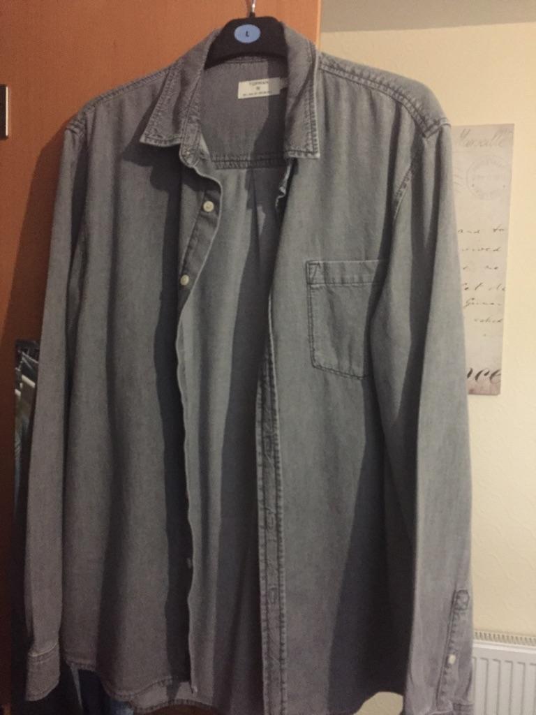 Topman Grey Denim Shirt