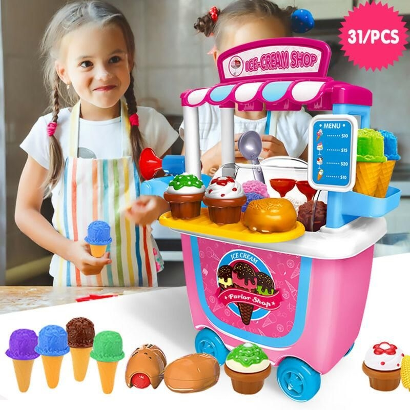 31 pcs kids ice cream machine role play fun