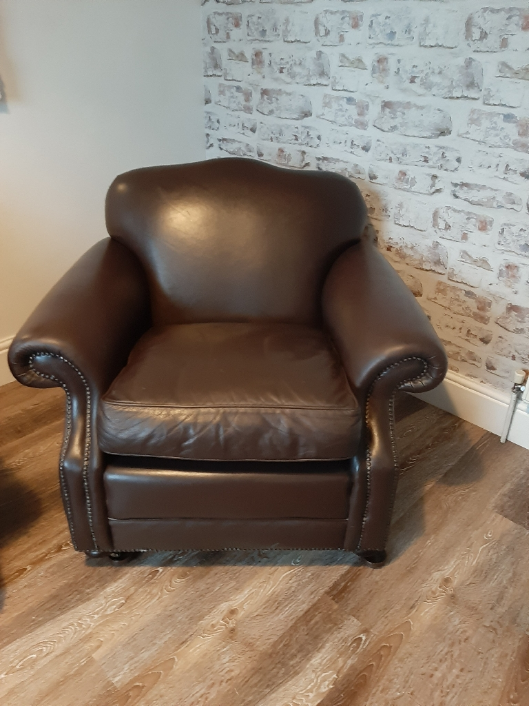 Laura Ashley brown leather chair